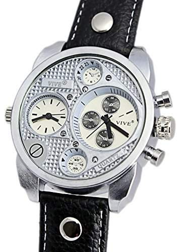 Banger Dualtime Chronograph for Men Double Temps Zwei Zonen Navigator Herrenuhr XL Atlas Modell mit 2 Uhrwerken Weltzeituhr Schwarz Silber mit Lederarmband