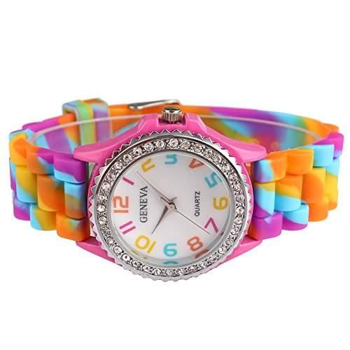 Bei wang Regenbogen-Silikon-Quarz-Band-Uhr mit weissem Zifferblatt