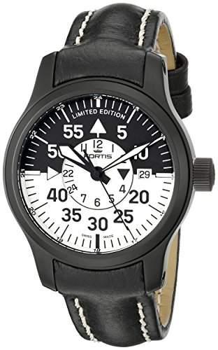 Fortis Herren-Armbanduhr XL B-42 Flieger Black Cockpit GMT Analog Automatik Leder 6721811 L01