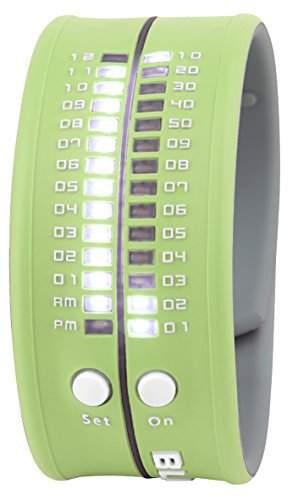 Unisex Armbanduhr aus Silikon hellgruen LED weiss