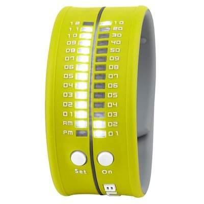 Unisex Armbanduhr aus Silikon apfelgruen LED weiss