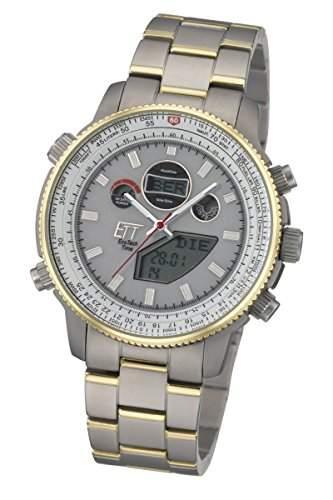 Herren-Solar-Funk-Uhr Eco Tech Time Solar Drive Funk Professional Pilot Herrnuhr EGT-11200-11M Funksolar-Armbanduhr