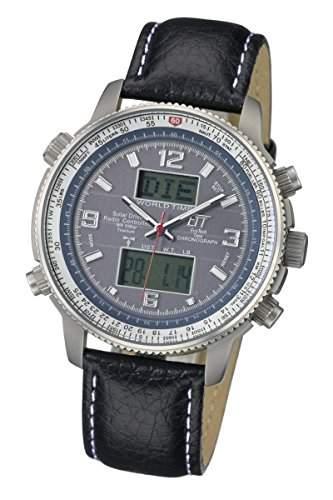Herren Funk-Solar-Uhr Eco Tech Time Herrenuhr Solar Drive Funk Professional Pilot Herrenuhr EGT-11209-31L Solar-Funk-Armbanduhr