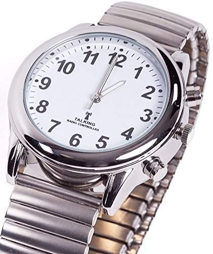 sprechende analoge Funkuhr Armbanduhr Blindenuhr Flexarmband 2413