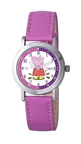 PP007 Mädchen-Armbanduhr, Motiv: Peppa Wutz, Quarz, analog, Polyurethan-Uhrenband, Rosa