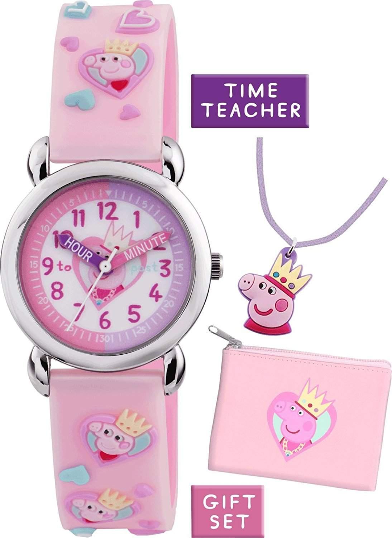 Peppa Pig Maedchen-Armbanduhr Analog Silikon Rosa PP013
