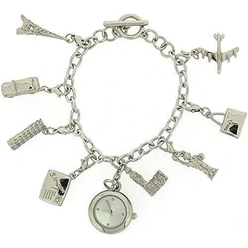 CHARMED Damen-Geschenkset bestehend aus analoger Damenuhr an Bettelarmband mit 8 Bettelanhaengern und T-Verschluss