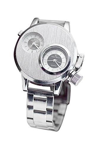 Armbanduhr V6 Maenner Doppel Gross Rund Legierungsgehaeuse Quarz Analog Armband Geschaeftsuhr Silber