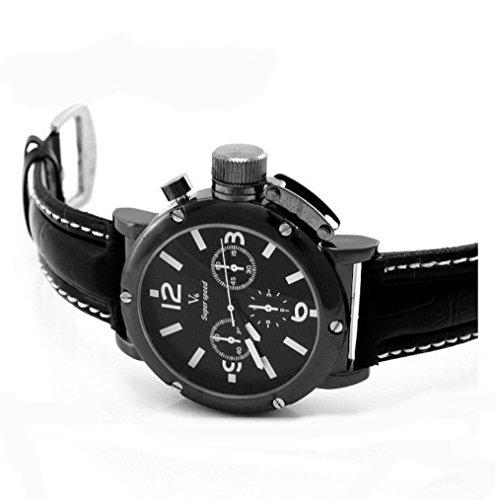 V6 Super Speed stilvolle Leder Band Runde schwarzem Zifferblatt mit Time Einstellen Schutz Laessig Sport Uhr Schwarz