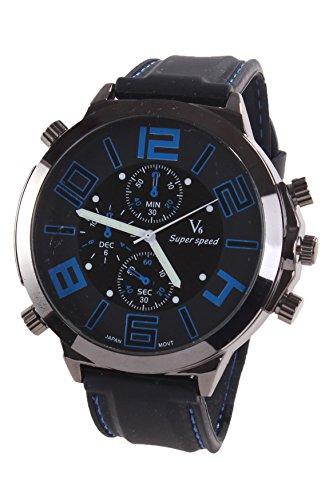 V6 Maenner Super Grosses Zifferblatt Quarz Stahl Silikon Band Armbanduhr Blau