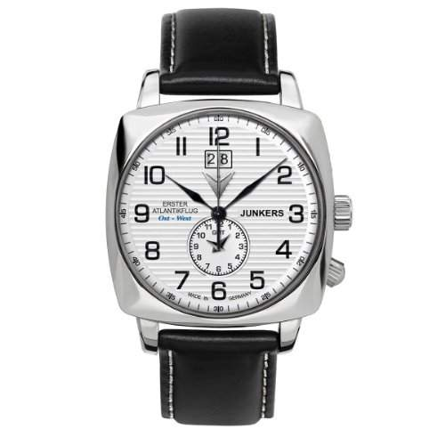 Junkers Herren-Armbanduhr 1 Atlantikflug Ost-West Analog Quarz Leder 64401