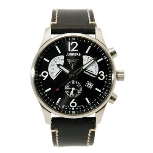 Junkers Herren-Armbanduhr XL Flugweltrekorde G38 Chronograph Quarz Leder 66822