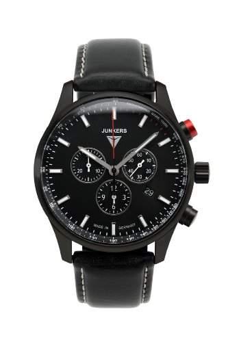 Junkers Watches Herren-Armbanduhr XL Chronograph Quarz Leder 6F80-2