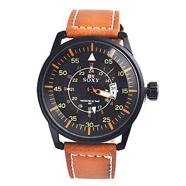 FENKOO Herren Modeuhr Quartz Armbanduhren fuer Den Alltag Leder Band Schwarz Braun