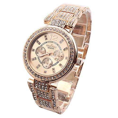 Elegant Damen Armbanduhr Damen Bracelet mit Diament Fl che und Luxury Rose Goldene mit Goldfox Tasche