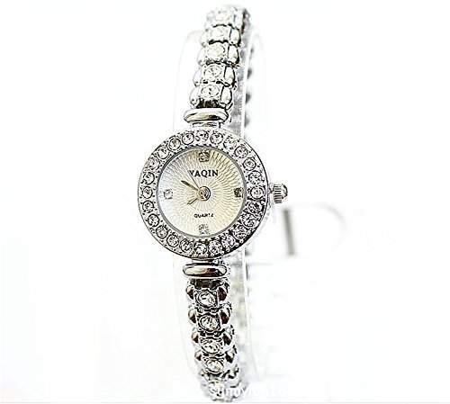 Mode Damen Frauen Imitation von Diamant Armband Uhr Stahl Weiss Zifferblatt Quarz Kristall Armbanduhr Geschenk fuer Freundin