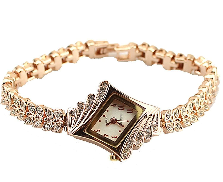 Gold Plated Armbanduhren Imitation von Diamant Uhren Elegante Rhombus Frauen Maedchen Damen Armbanduhr Geschenk fuer Freundin