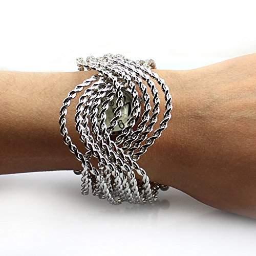 Fashion Damen Frauen Silber  Gold Wave Armreif Mode Quarz Armbanduhr Silver Wave
