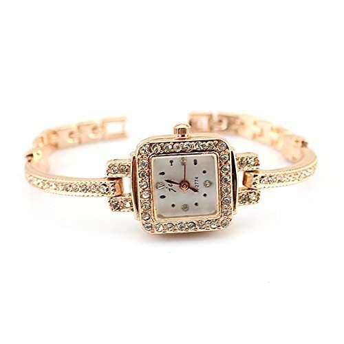 Rose Gold Alloy Kristallen besetzt Zifferblatt Damen Frauen Armbanduhr