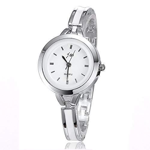 Damen Mädchen Armbanduhr, rundes Ziffernblatt, analog, Armband, silberfarben