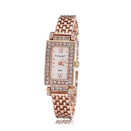 Charm Bling Rose Gold faux Diamant Quadrat Auswahl Damen Damen M?dchen Armbanduhr Fashion Elegante Armb?nder Quarz-Armbanduhr