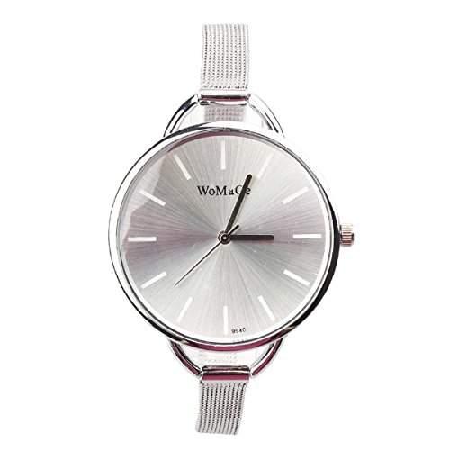 Damen Maedchen Quarz Armbanduhr mit Big runden Zifferblatt und Stahl Grid Riemen Cute einfachen Stil Weiss