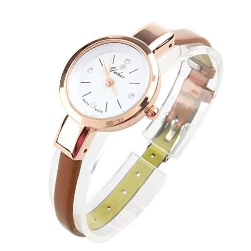 Damen Quarz Armbanduhr mit duenn Streifen PU Lederband und rund Face einfachen Stil braun