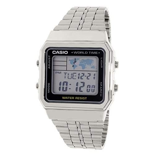 CASIO Herren-Armbanduhr Digital Quarz Edelstahl A500WA-1