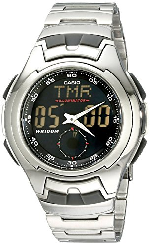 Casio AQ160WD 1B Mens Classic Black Dial Ana Digi Sport Stainless Steel Bracelet Silver Tone Watch