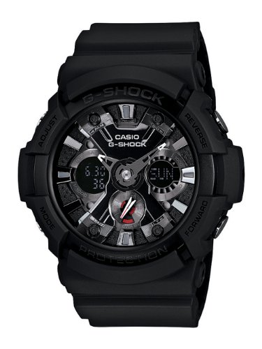 Casio GA201 1A Mens G Shock Ana Digi Alarm World Timer Black Resin Watch