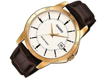 CASIO Herren Armbanduhr Analog Quarz Leder MTP V004G 7
