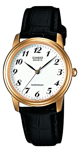 Casio Herren Armbanduhr Analog Leder schwarz MTP 1236GL 7BEF