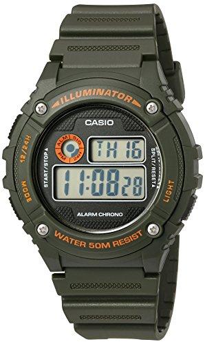 Casio Herren Illuminator Quarz Harz Automatik Uhr Farbe gruen Modell w 216h 3bvcf