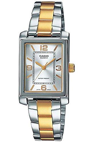 Casio ltp 1234psg 7 a Classic 045J699 Analog weiss Armband Stahl zweifarbig