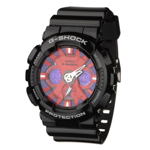 Casio Mens G Shock Oversize Black With Red Blue Dial GA 120B 1AER