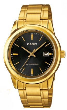 CASIO Mod MTP VS01G 1A Solar Powered Quartz Date SS Bracelet Ip Gold Black Dial 41mm wr 30mtORIGINAL BOX