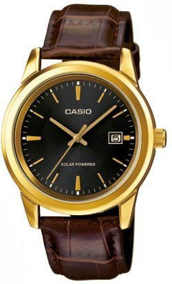 CASIO Mod MTP VS01GL 1A Solar Powered Quartz Date Leather Strap SS Case Ip Gold Black Dial 41mm wr 30mtORIGINAL BOX