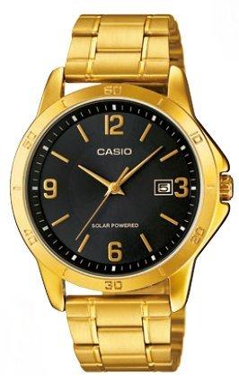 CASIO Mod MTP VS02G 1A Solar Powered Quartz Date SS Bracelet Ip Gold Black Dial 41mm wr 30mtORIGINAL BOX