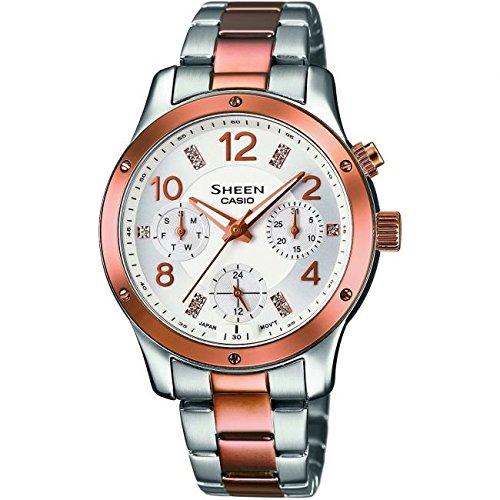Damen Casio Glanz Armbanduhr she 3807spg 7audr