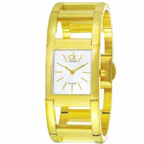 Calvin Klein Damen Armbanduhr Armband Edelstahl Gold Gehaeuse Schweizer Quarz Zifferblatt Silber K5912220