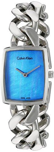 Calvin Klein 22mm Armband Edelstahl Gehaeuse Schweizer Quarz Zifferblatt Blau K5D2M12N