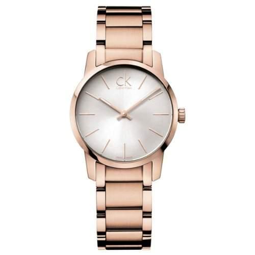 Calvin Klein Damen-Armbanduhr XS ck city Analog Quarz Edelstahl beschichtet K2G23646