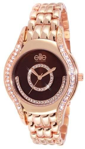 Elite ModelsFashion-E53524G - 805 Damen-Armbanduhr Alyce Quarz analog Armband Stahl, braun