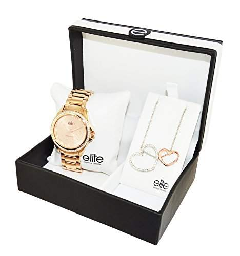 Elite Models FashionE53530G-812Damen-Armbanduhr,Quarz, analog, rosaZifferblatt, Stahl-Armband, Rosa, mit Box + Halskette mit Herzen