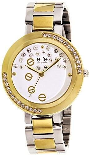 Elite Models Fashion E54180-301 Damen-Armbanduhr, Quarz, analog, weißes Zifferblatt, Edlstahl-Armband, vergoldet