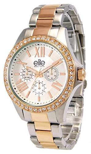Elite ModelsE54354G - 312-Fashion Damen-Armbanduhr Alyce Quarz analog Stahl-bi-color