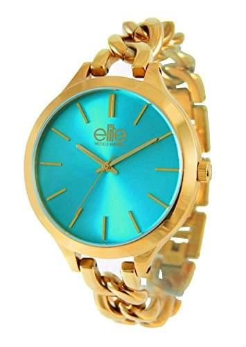 Elite ModelsFashion-E54384G - 116 Damen-Armbanduhr Alyce Quarz analog Stahl goldfarben, tuerkis