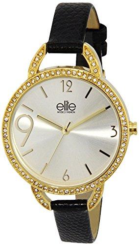 Elite Models Fashion E54080S 104 Damen Armbanduhr Quarz analog goldfarbenes Zifferblatt Lederarmband Schwarz