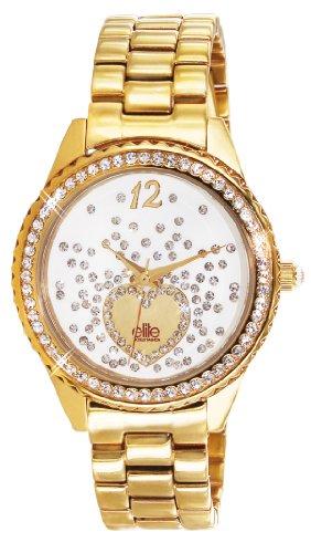 Elite Models Fashion e53354g 101 Damen Armbanduhr 045J699 Analog weiss Armband Stahl Gold