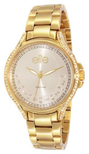 Elite Models Fashion e53484g 102 Damen Armbanduhr 045J699 Analog weiss Armband Stahl Gold
